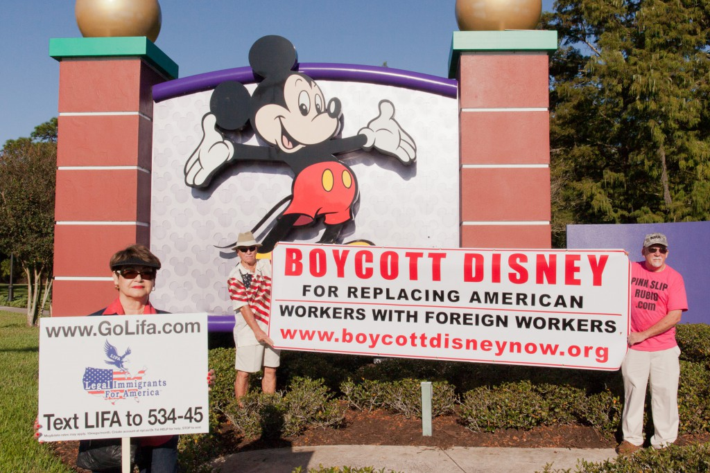 LIFA - Legal Immigrants For America -- at the Boycott Disney protest, Orlando, Florida, October 17, 2015