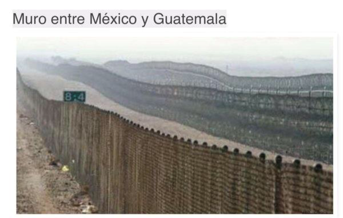 Mexico has wall to keep out Guatemalans, but objects to a border wall that protects America. WAKE UP AMERICA